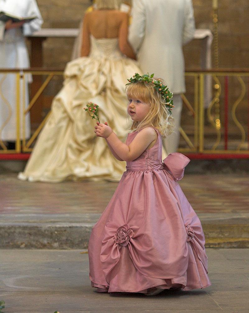 Cute Bridesmaid in Aisle