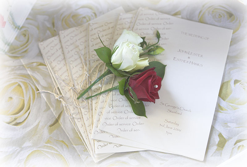 Orders of service from a Peterborough wedding