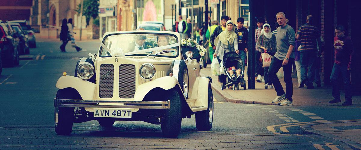 Peterborough Wedding Photographer - wedding car in Westgate